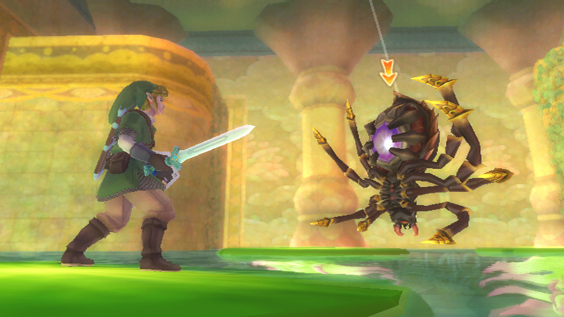 The Legend of Zelda Skyward Sword Screenshot of a water-filled dungeon room with Link facing off against a gigantic hanging spider.