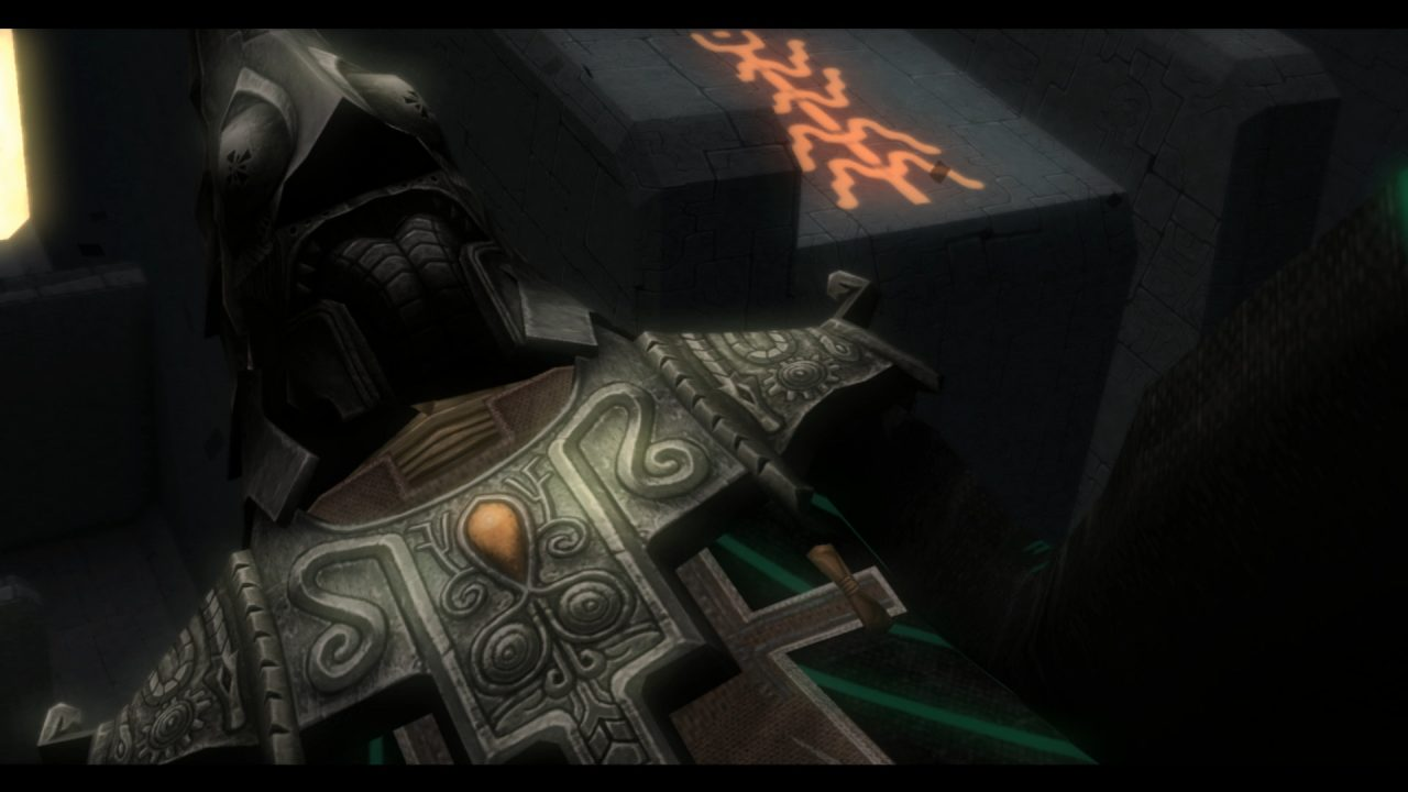 The Legend of Zelda Twilight Princess HD Screenshot closeup of Zant, a man clad in ornate metal armor and a tall pointed headpiece helmet.