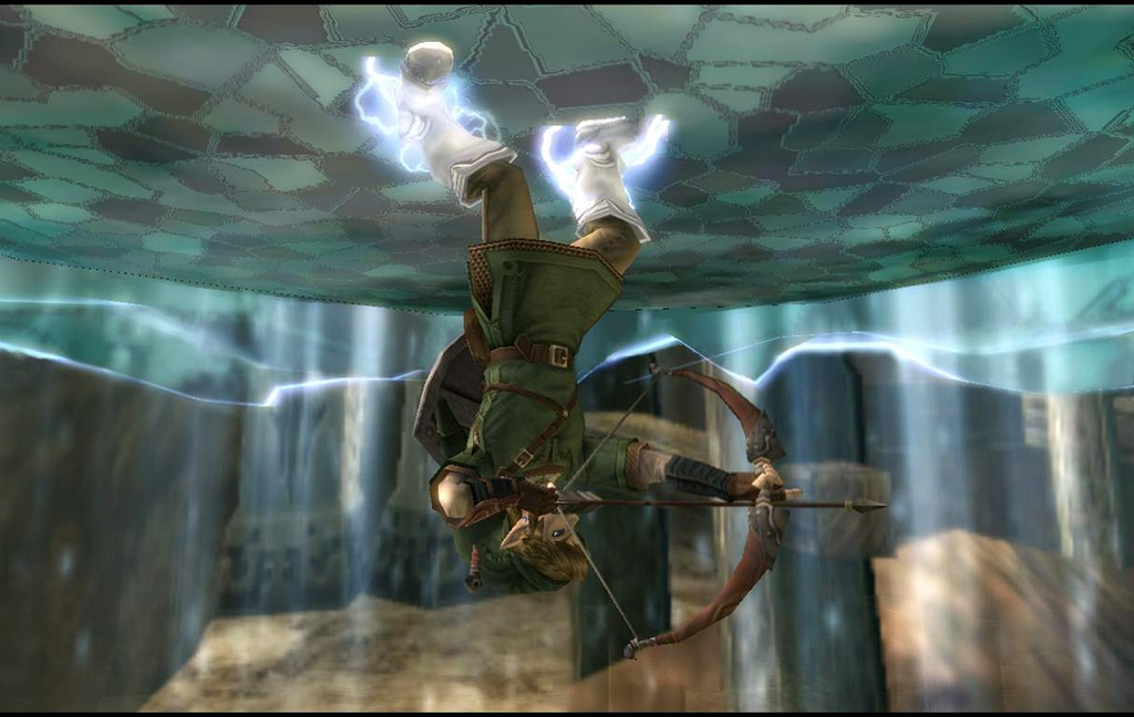 The Legend of Zelda Twilight Princess Screenshot of Link wielding a bow and arrow while standing on the ceiling with magnetic boots.
