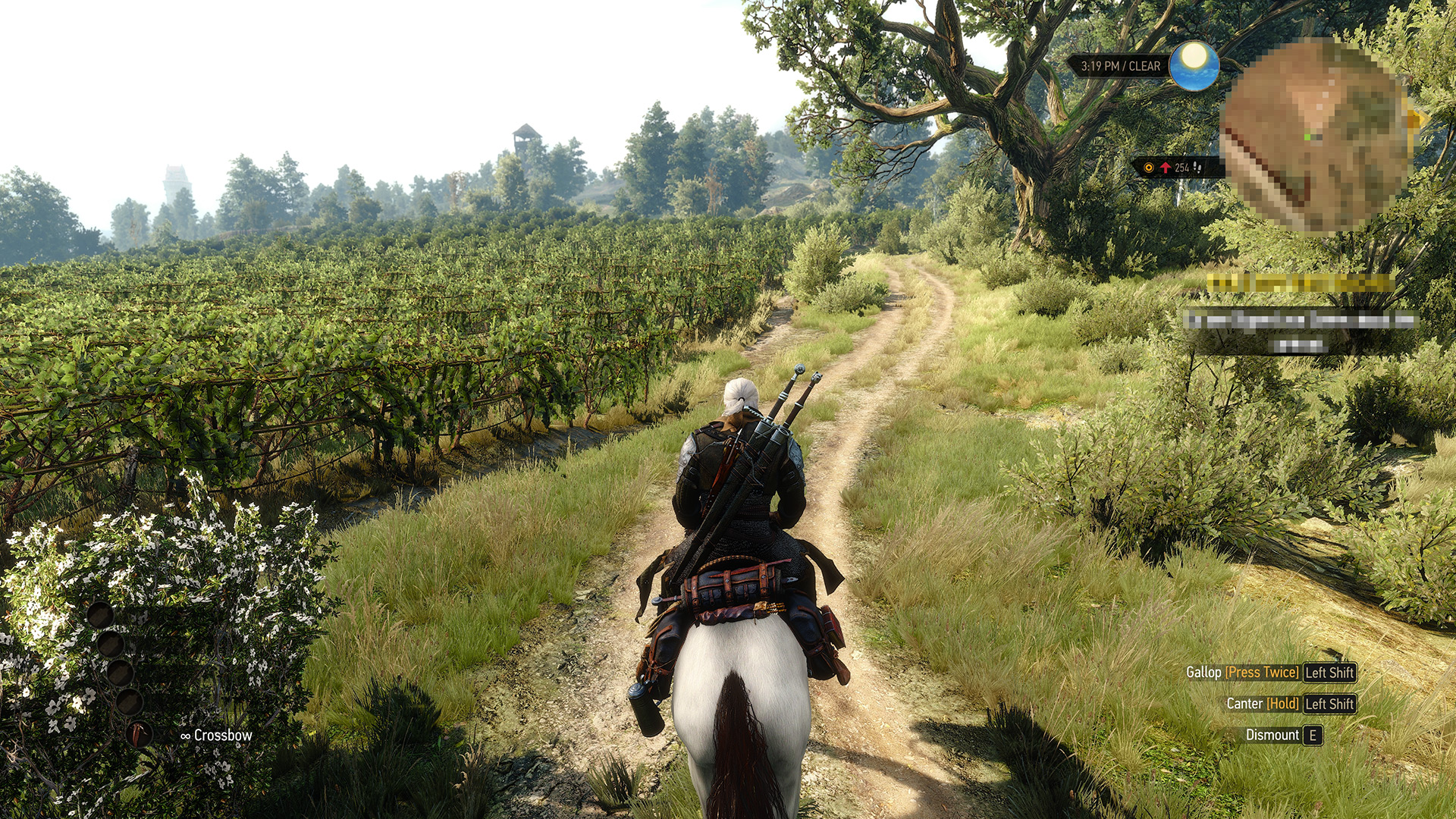 Geralt of Rivia rides a horse across the countryside in The Witcher 3: Wild Hunt.