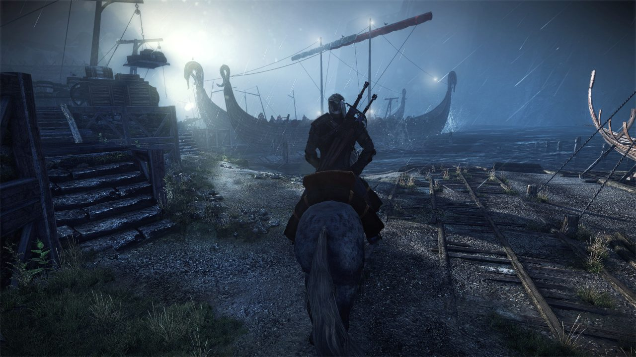 On a moonlit night, Geralt heads toward some longboats on horseback.