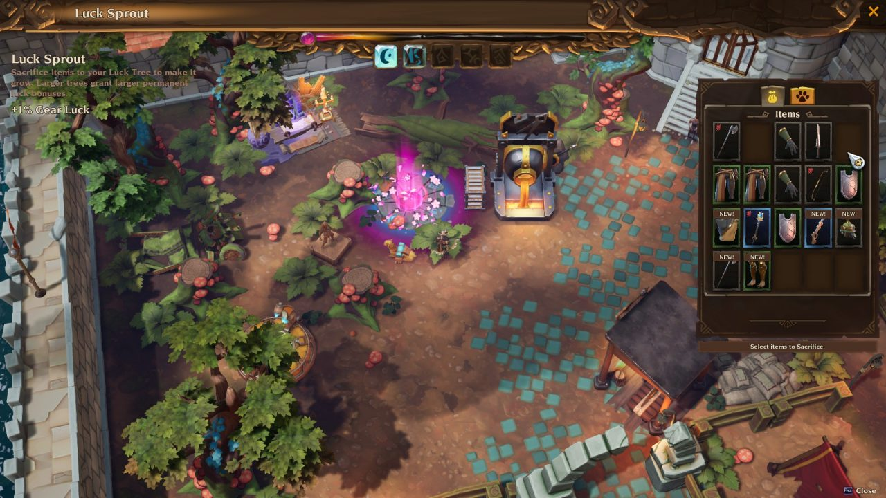 A screenshot of Torchlight III showcase the player's Fort with a magic tree they are growing in it.