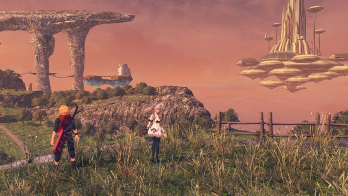 The crew explores some ruins at sunset with a floating edifice in the distance.