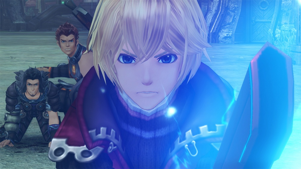 Shulk looking protective with the Monado drawn.