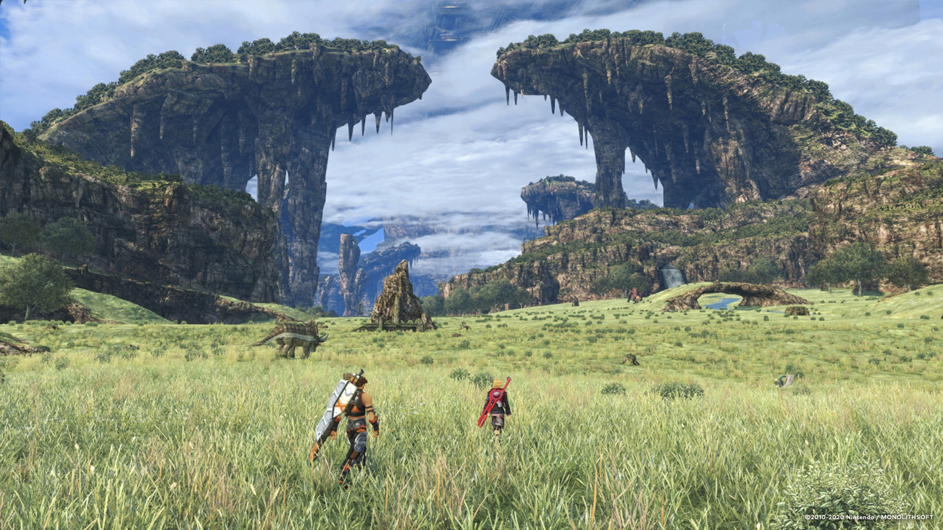 Shulk and company traverse the gorgeous landscape.