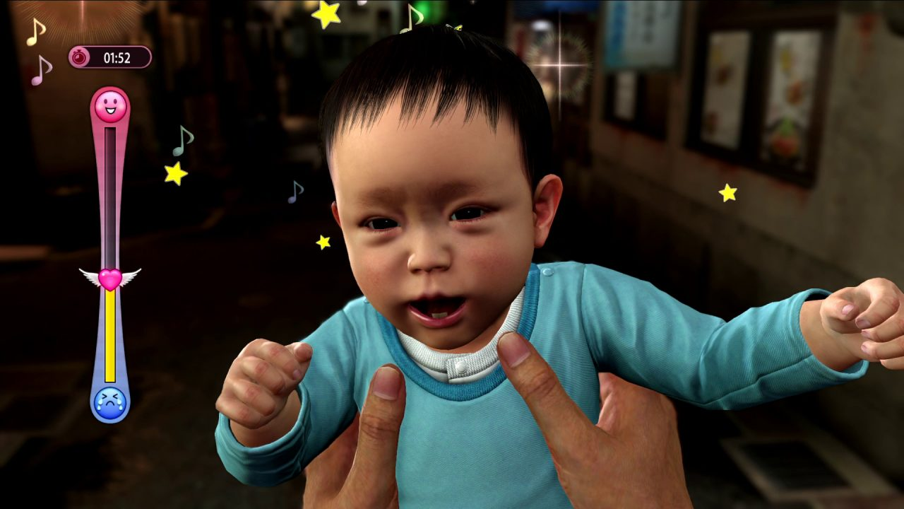 Kiryu calming a baby in a blue onesie, with a meter to the left displaying the baby's mood.