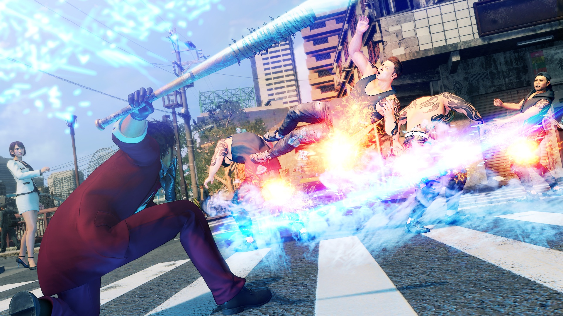 Yakuza: Like a Dragon screenshot: Ichiban sweeps a bunch of bad guys off their feet with his trusty bat.