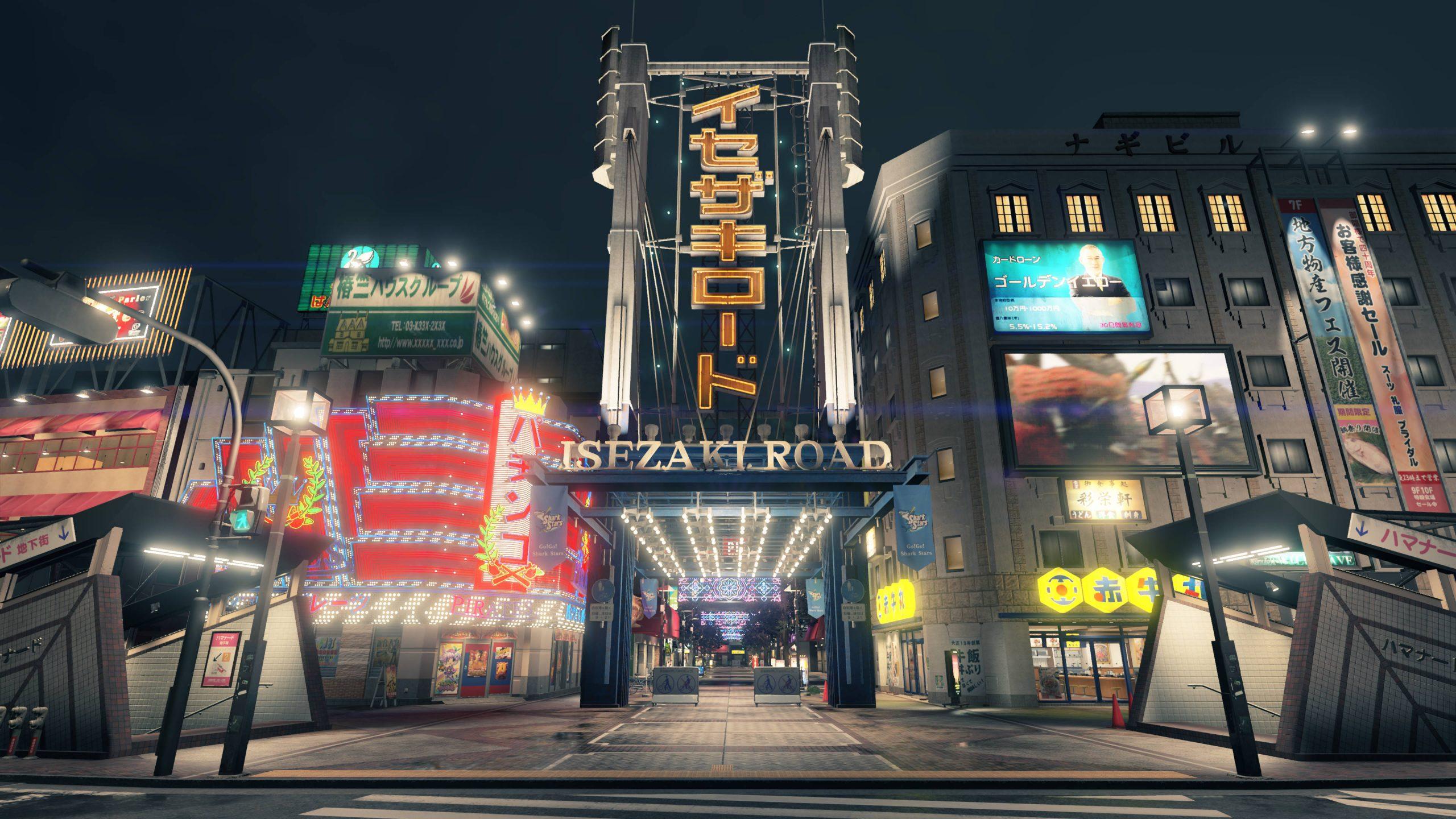 Yakuza: Like a Dragon screenshot: Looking at the bright lights on Isezaki Road in Ijincho.