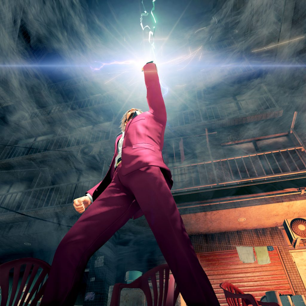 Ichiban raising his arm in the air as his fist shines and crackles with electricity.
