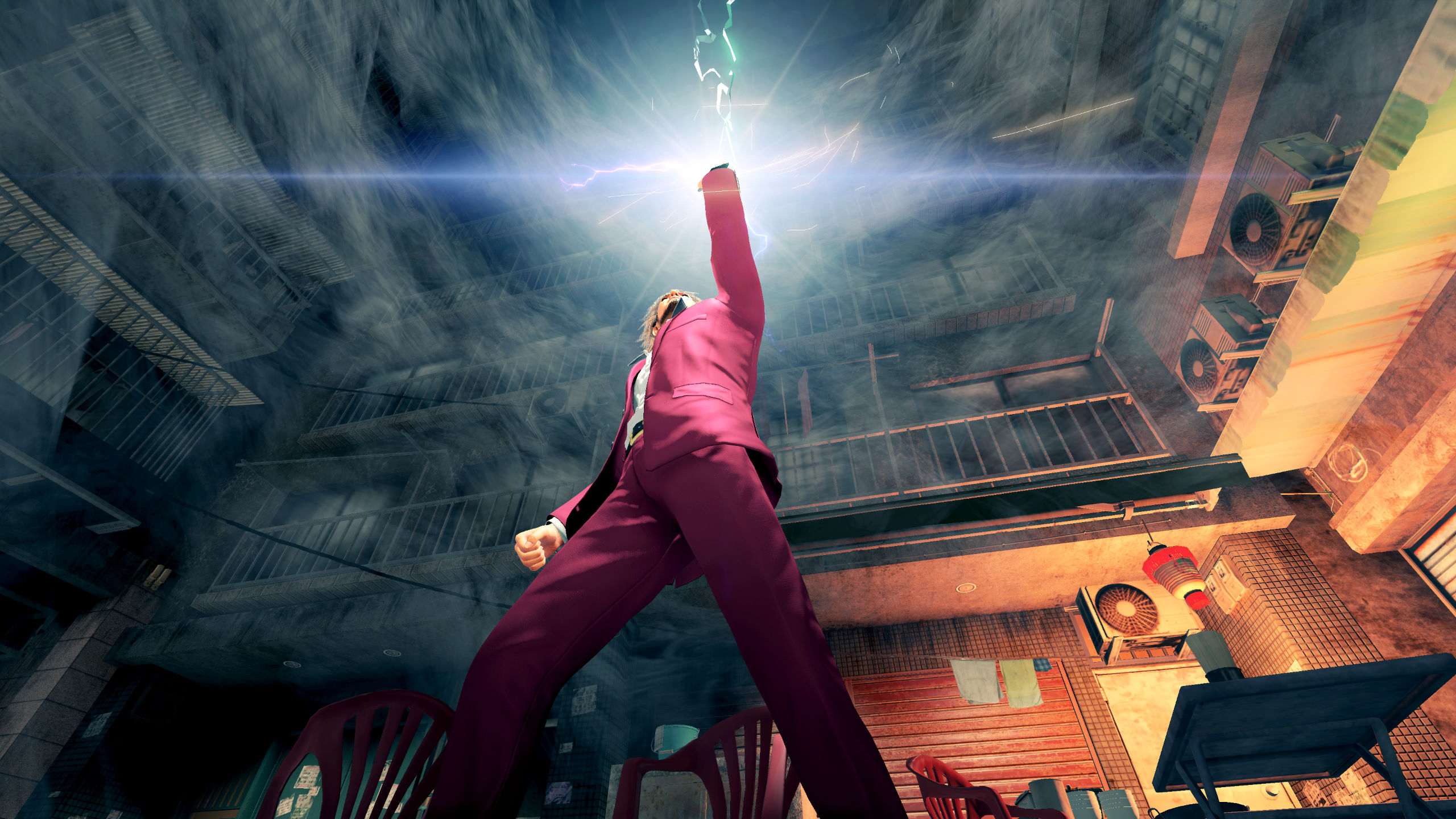 Screenshot From Yakuza: Like A Dragon Where A Man Holds His Glowing Fist In The Air Like He-Man Or Something