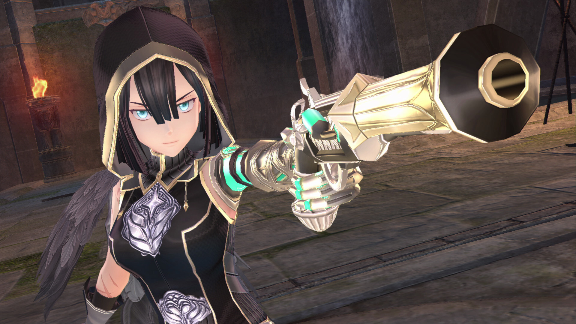 Aprilis, in a gold-trimmed hood, brandishes her Monstrum gun weapon in this Ys IX: Monstrum Nox screenshot.