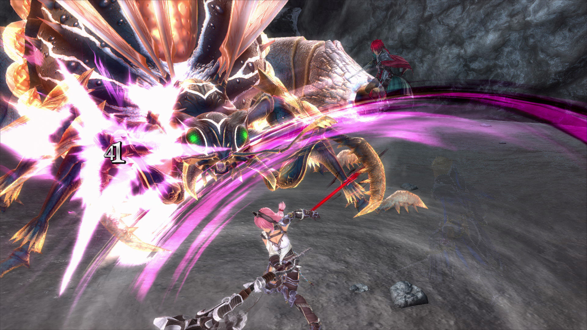 Ys IX: Monstrum Nox screenshot of a pink-haired character striking a large bug/bear monster with a purple trail of light.