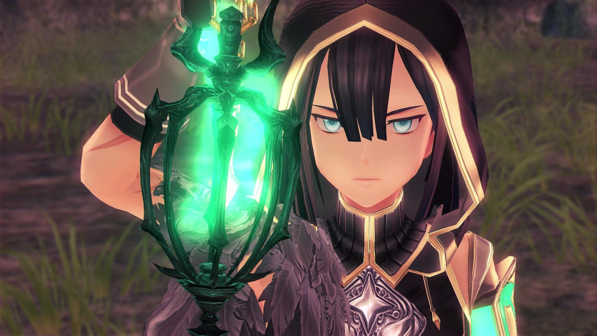 A major character peers into a glowing green lantern in Ys IX: Monstrum Nox.