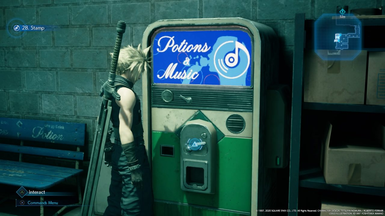 """Cloud stands to the left of a vending machine that looks like a jukebox with """"Potions And Music"""" in a blue lit area at the top."""