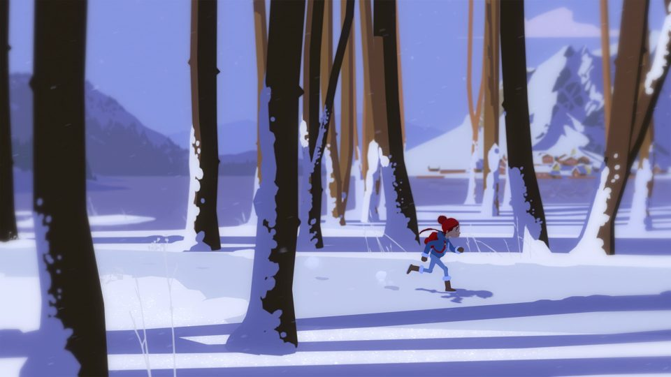 Person in a snow cap dashes between wintry tree trunks.