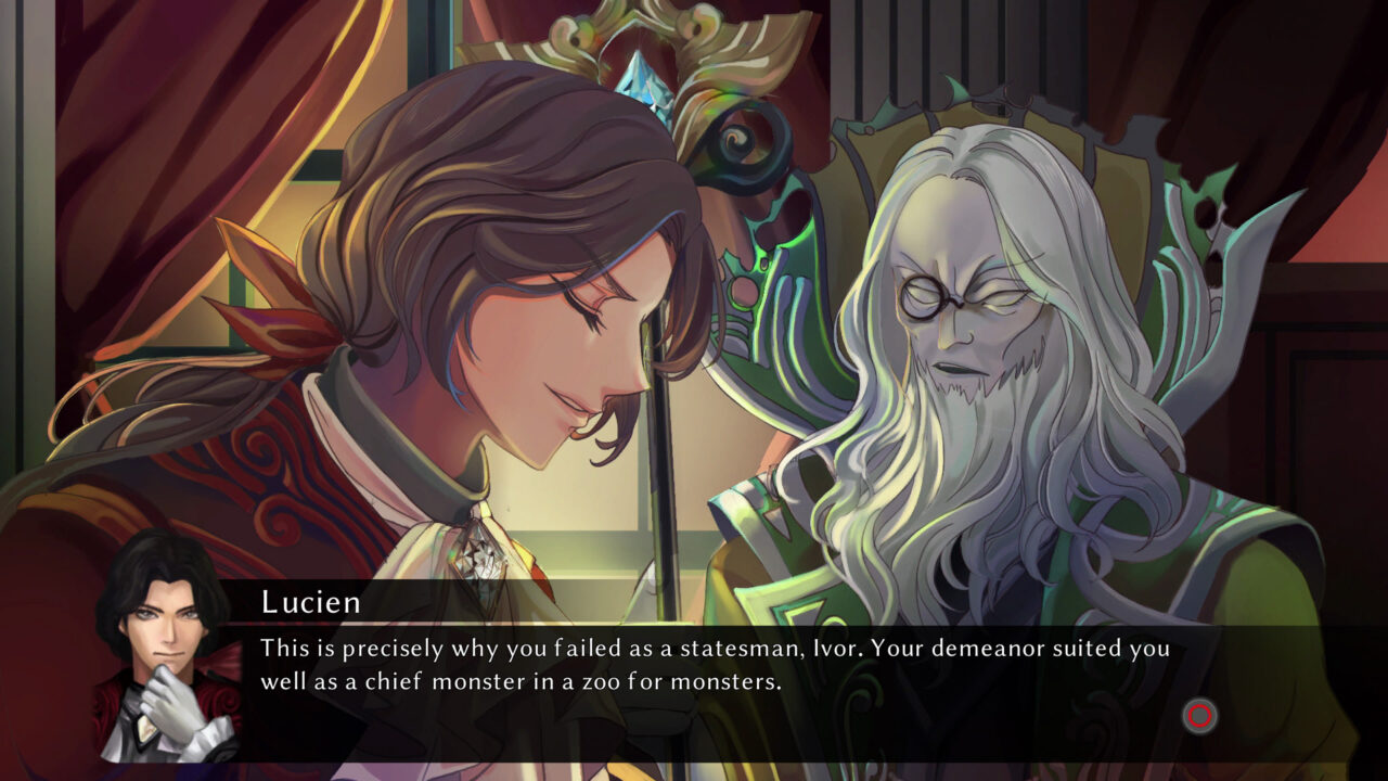 Two characters share an intimate moment in Fallen Legion: Revenants.
