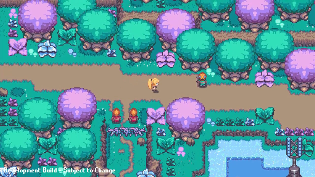 The Girl From Arkanya screenshot of a girl wandering through a path lined with with green and purple trees.