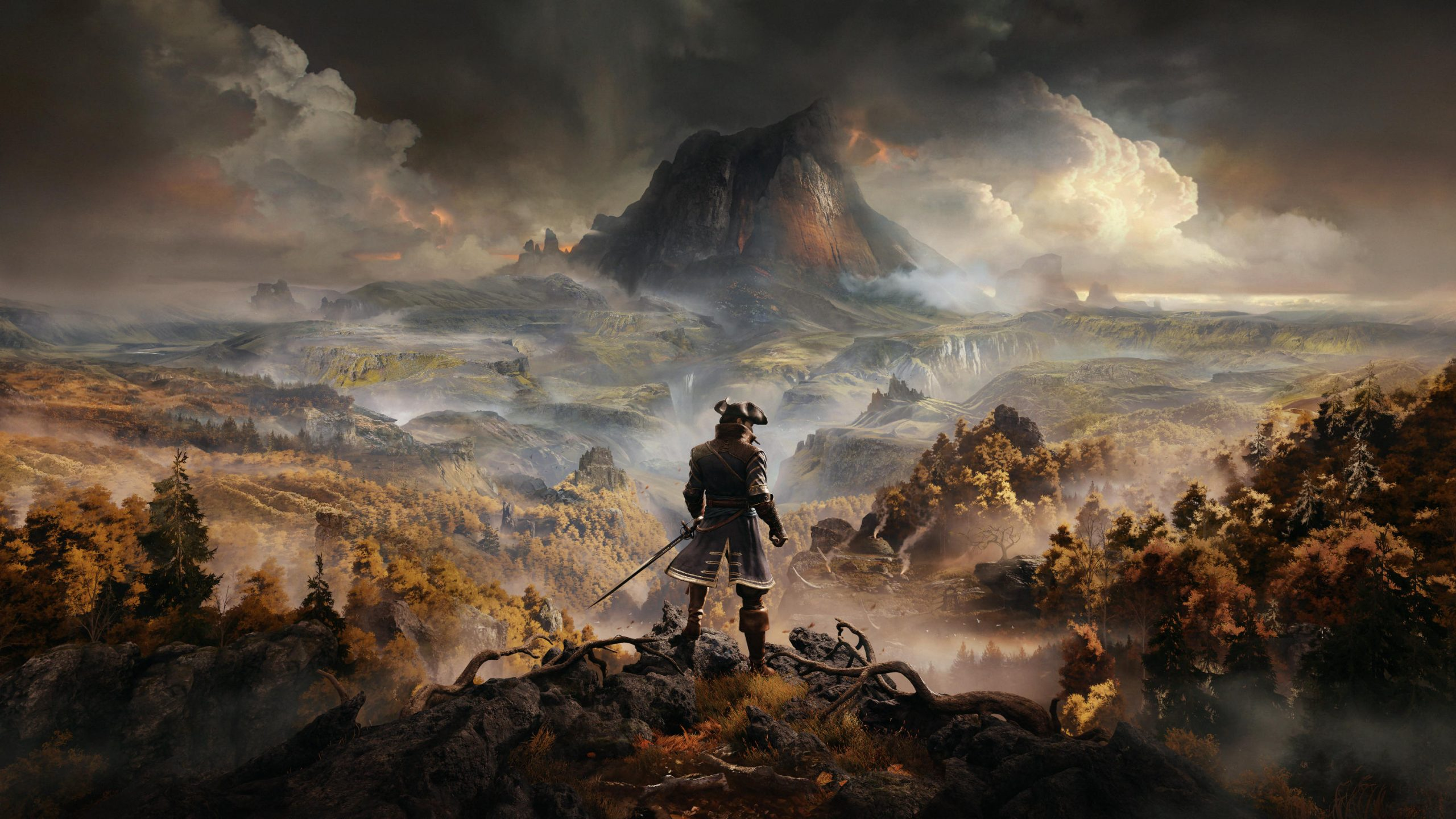 Key Art From Greedfall Featuring A Man Looking At A Mountain From Afar