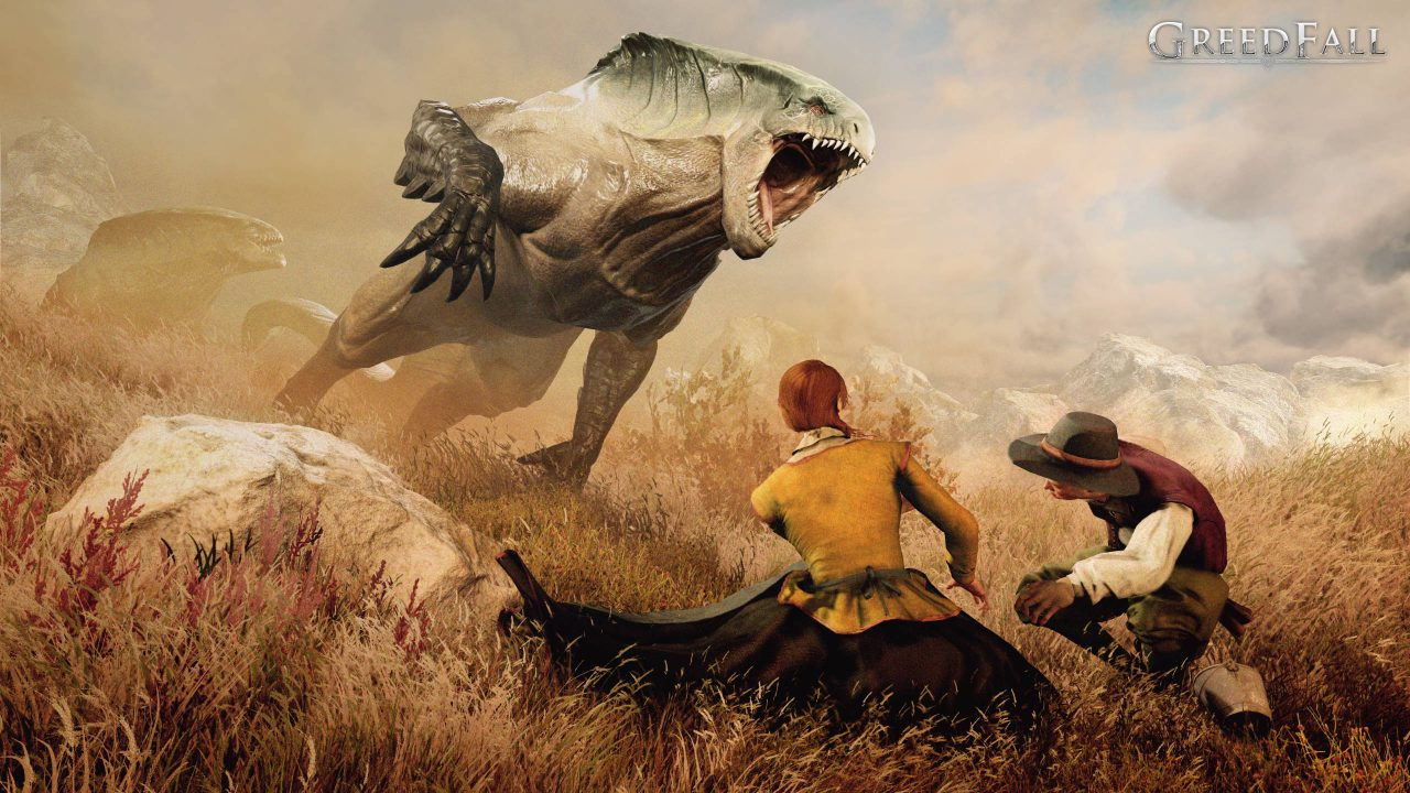 Screenshot From GreedFall Featuring A Vicious Monster Attacking Someone