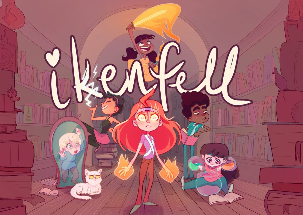 Multiple characters from Ikenfell in a library