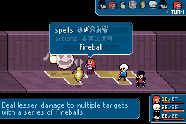 A combat scene from Ikenfell which shows Maritte's range of actions.