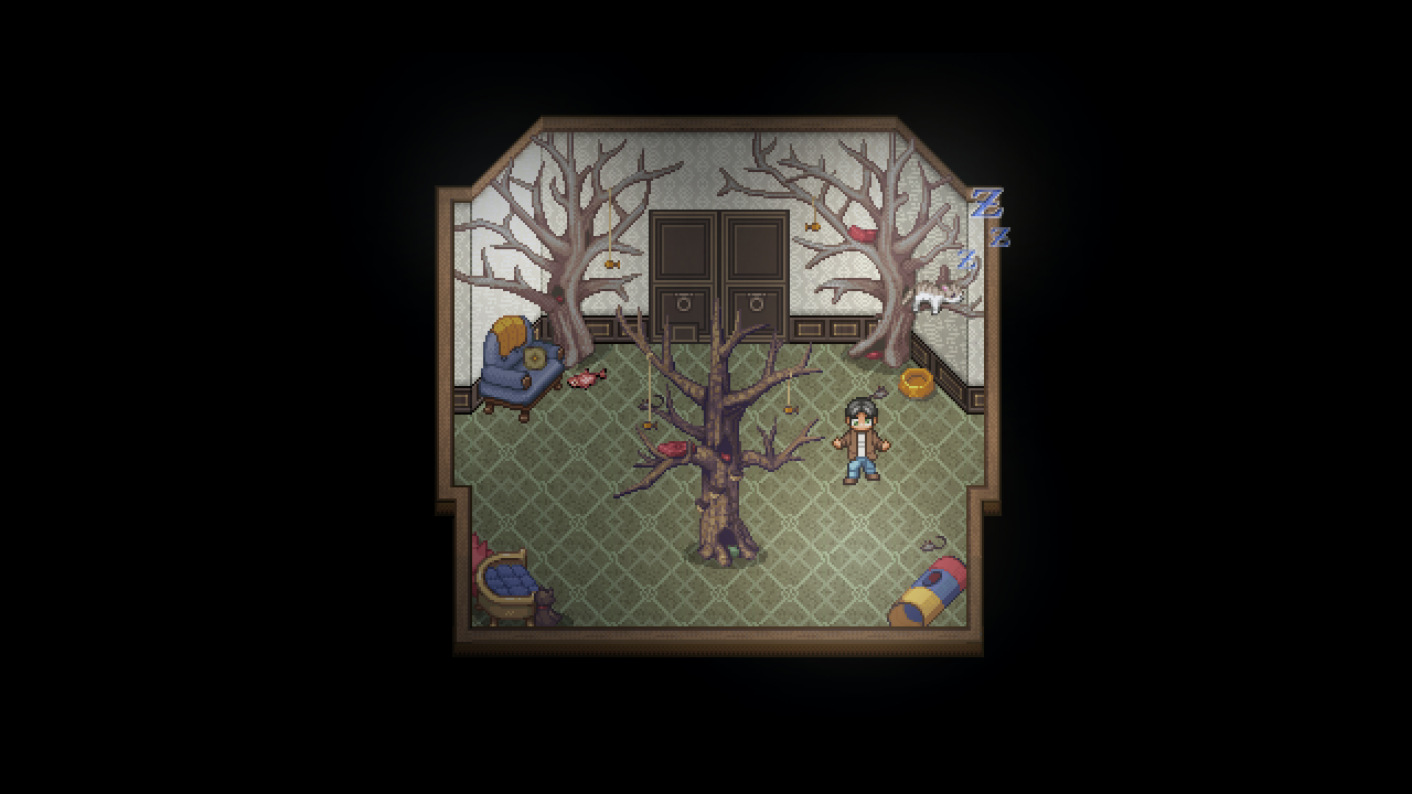 Impostor Factory screenshot of a man with googly eyes standing in a strange mansion room with plush chairs and leafless trees strangely on the floor.