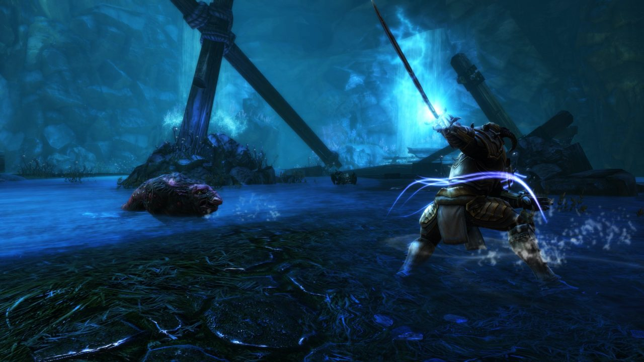 A blue-tinted battlefield in Kingdoms of Amalur: Re-Reckoning.