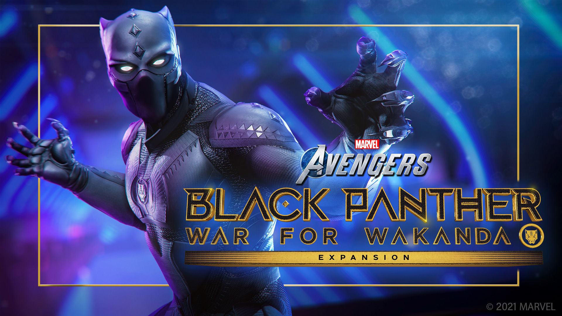 Marvel's Avengers - Black Panter: War for Wakanda Logo over an image of Black Panther ready to strike.