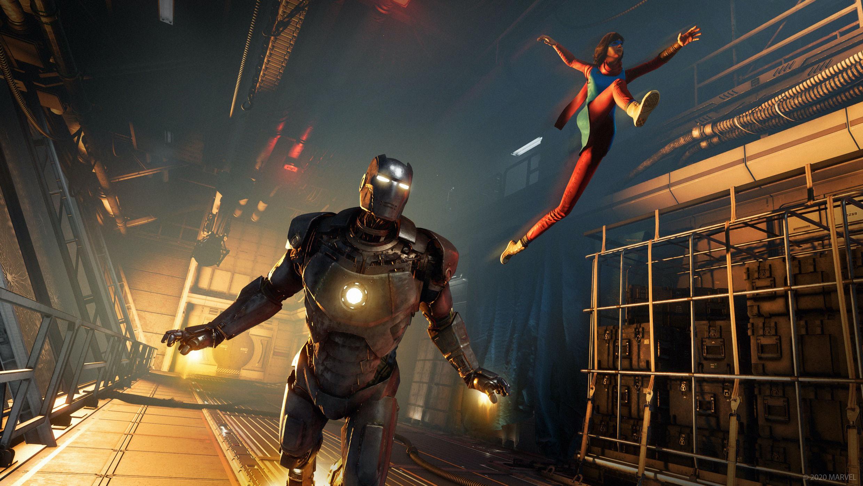 Marvel's Avengers fighting a robot