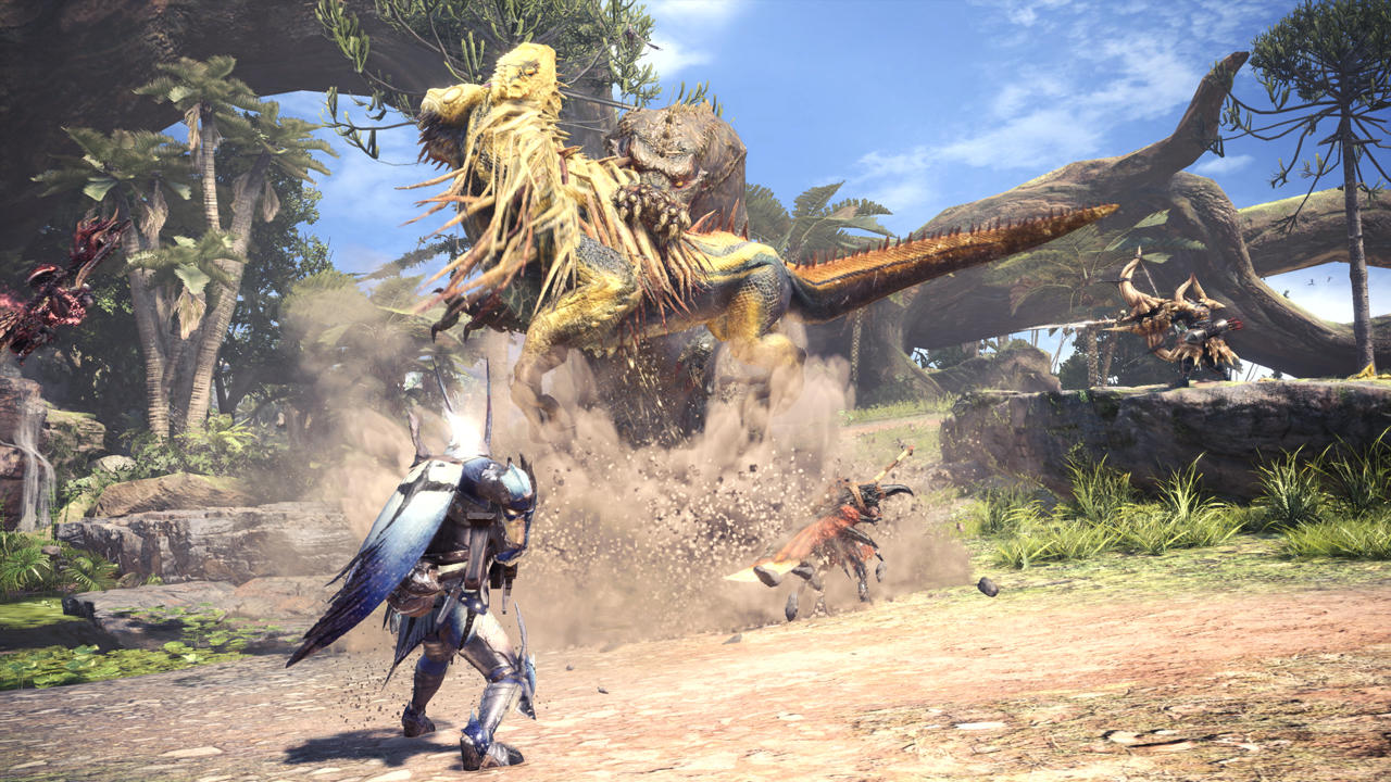 A Great Jagras is picked up by a Deviljho in Monster Hunter: World.