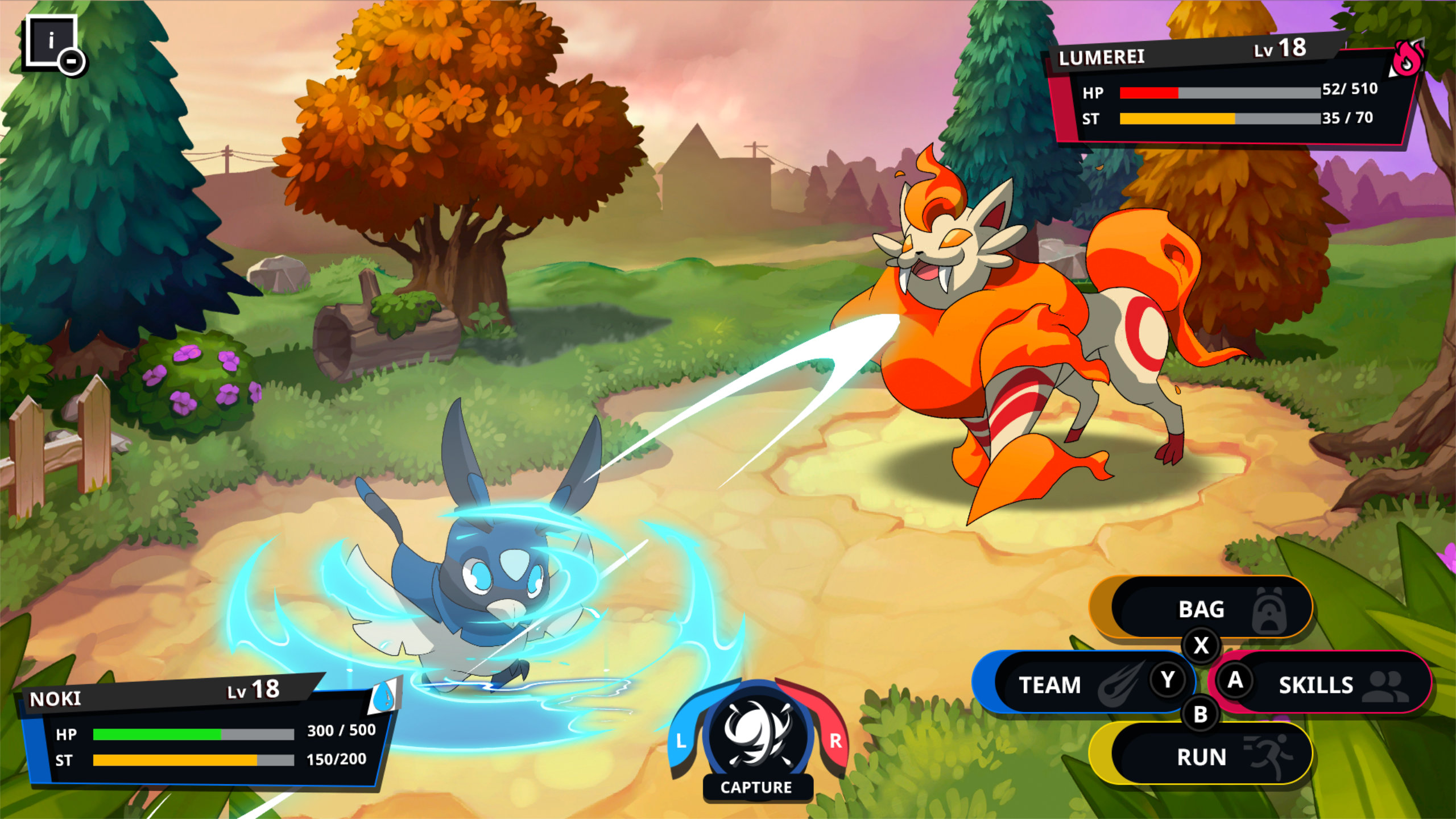 A battle between very different elemental types; a blue energy spiral in the lower left surrounding a birdlike creature, with a fluffy red cat creature in the upper right.
