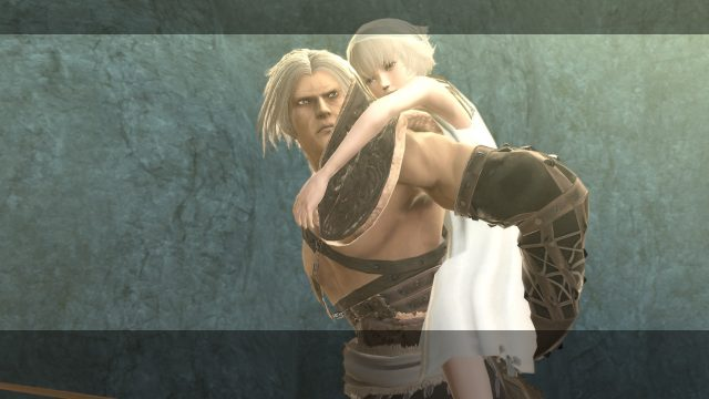A grizzled, white-haired man wearing patchwork pelts and leather armor, carrying his young daughter in his back.
