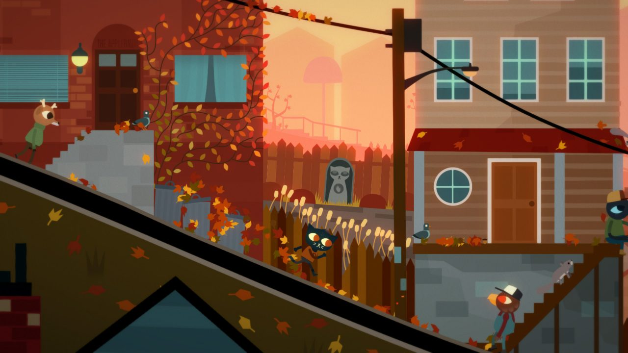 Mae running downhill through the town at dusk in Night in the Woods