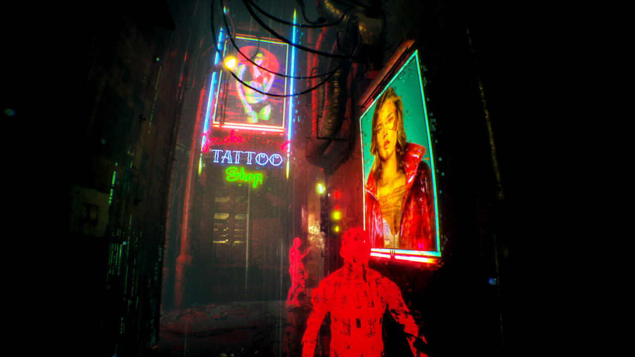 Red see-through mesh characters walking through a seedy city in Observer: System Redux