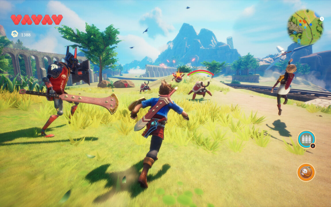 The player character exploring a grassy field with a mountainous backdrop in Oceanhorn 2.