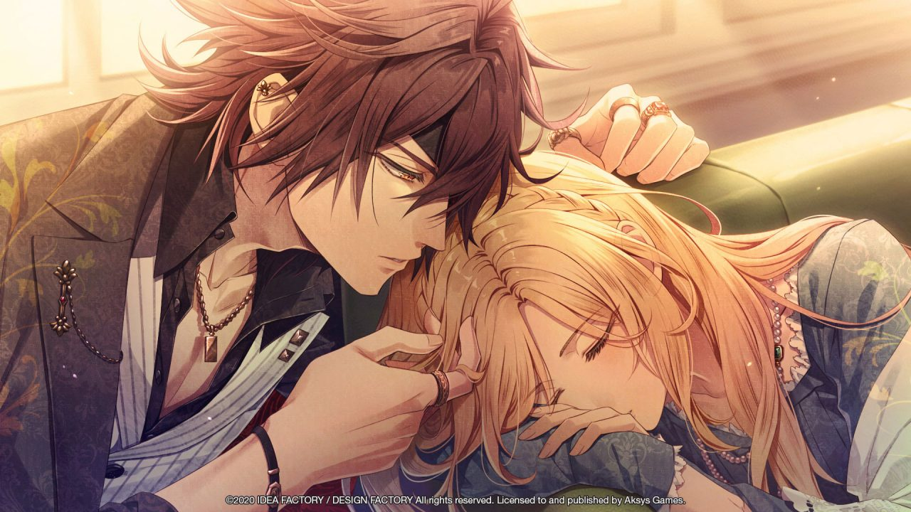 Screenshot from Piofiore: Fated Memories Where A Character Rests Their Cheek On Someone's Head.