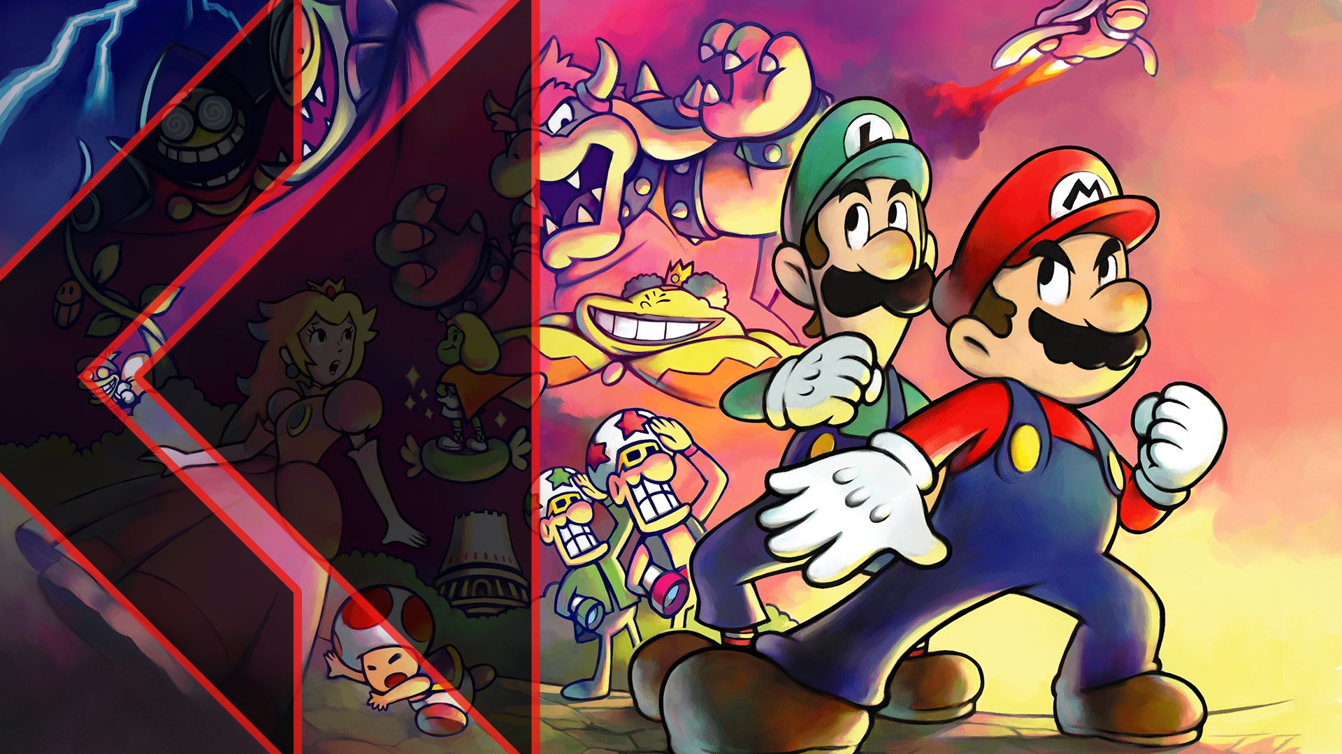 Mario & Luigi dramatically pose in front of a lineup of villains