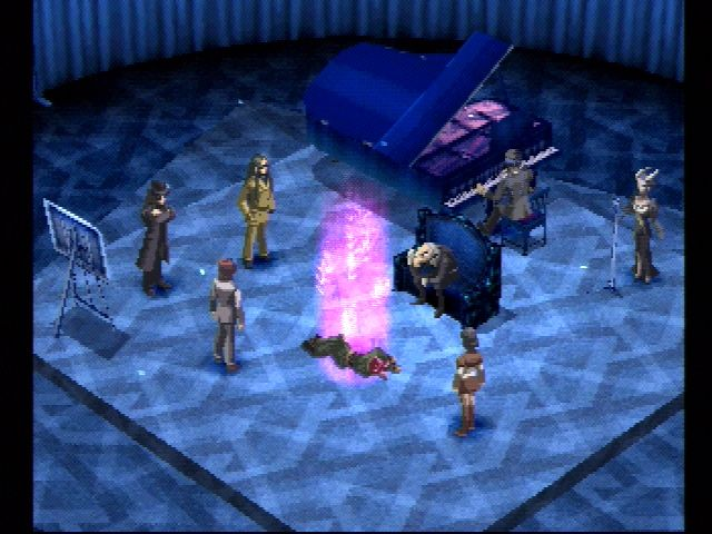 The cast stands around Ulala Serizawa's body with a purple glowing light rising out of it in Persona 2 Eternal Punishment
