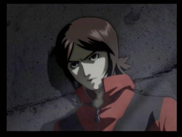 A screenshot of an anime cutscene showing Tatsuya Suou leaning against a wall in Persona 2 Eternal Punishment