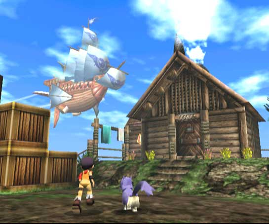 The Albatross from the view of Pirate Isle in Skies of Arcadia.