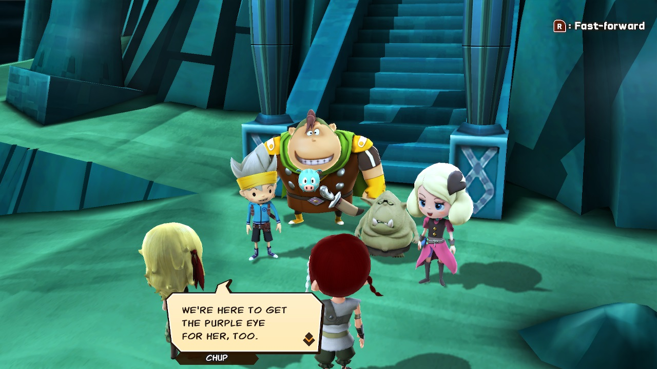 A young man in a viking helmet, burly man, small goblin, and elegant girl stand in front of stairs leading to a dungeon, looking on at two newcomers who say they are there for the same reason.