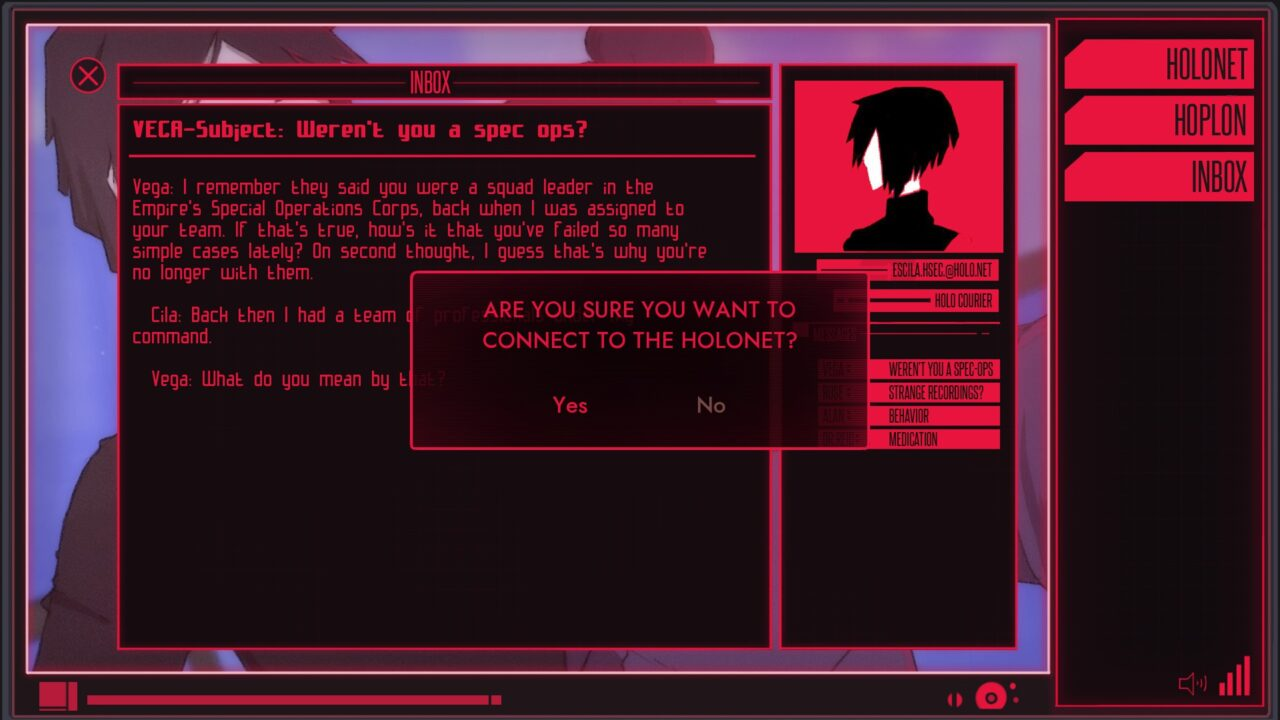 Surfing the cyberpunk web in Synergia.