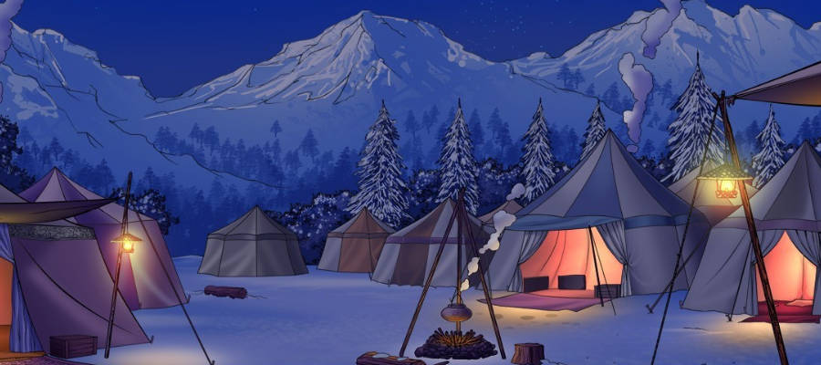 An encampment nestled into snowy mountains in Tales of Aravorn: Seasons of the Wolf
