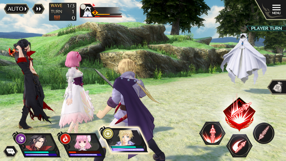 Kanata, Misella and Vicious fight an enemy in Tales of Crestoria.