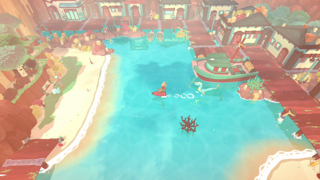 Surfing alongside your pet monster from a dock to a sandy shore in Temtem.