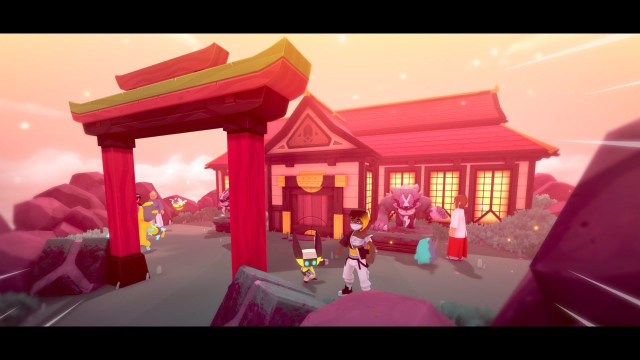 Temtem screenshot of an Eastern-themed dojo or temple with people and Temtem hanging around outside.