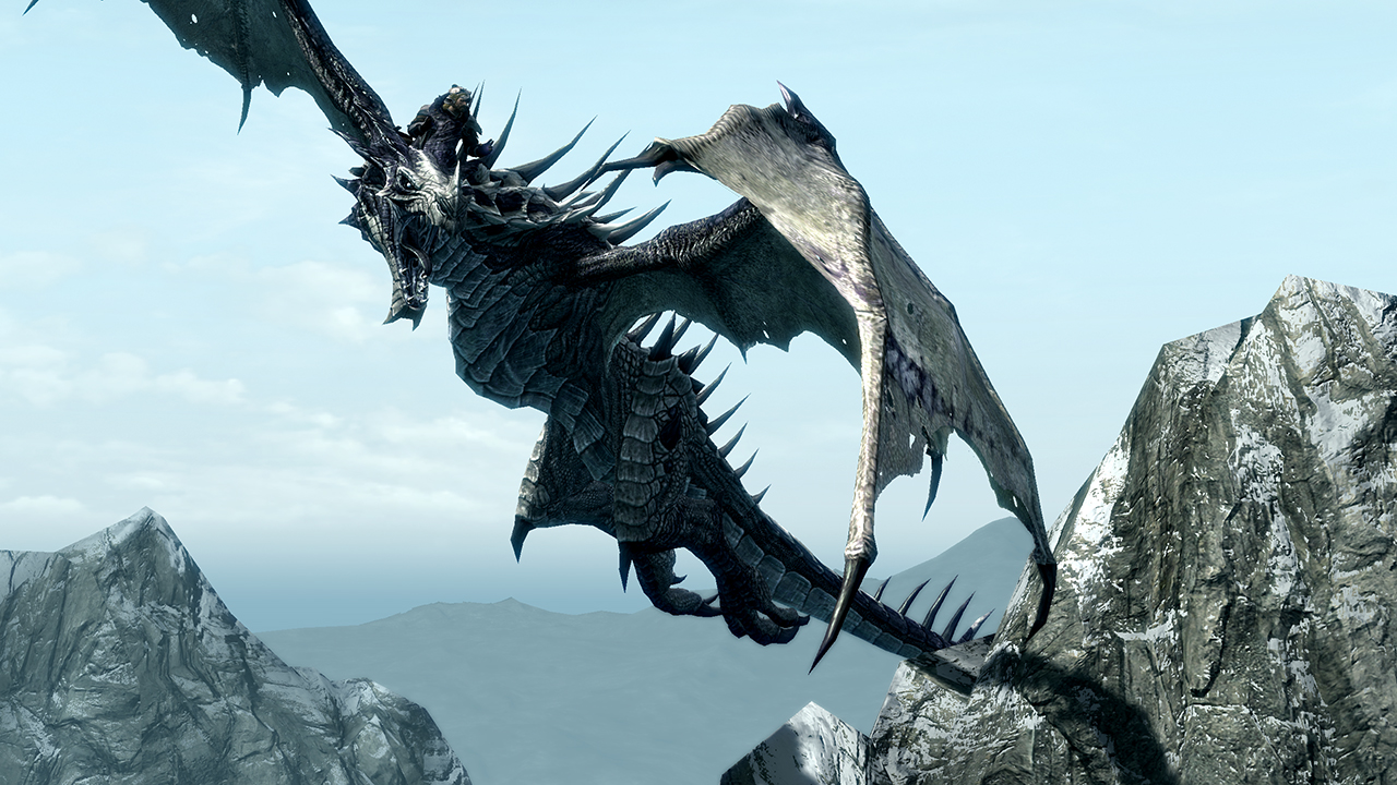 A dragon takes to the skies in The Elder Scrolls V: Skyrim.