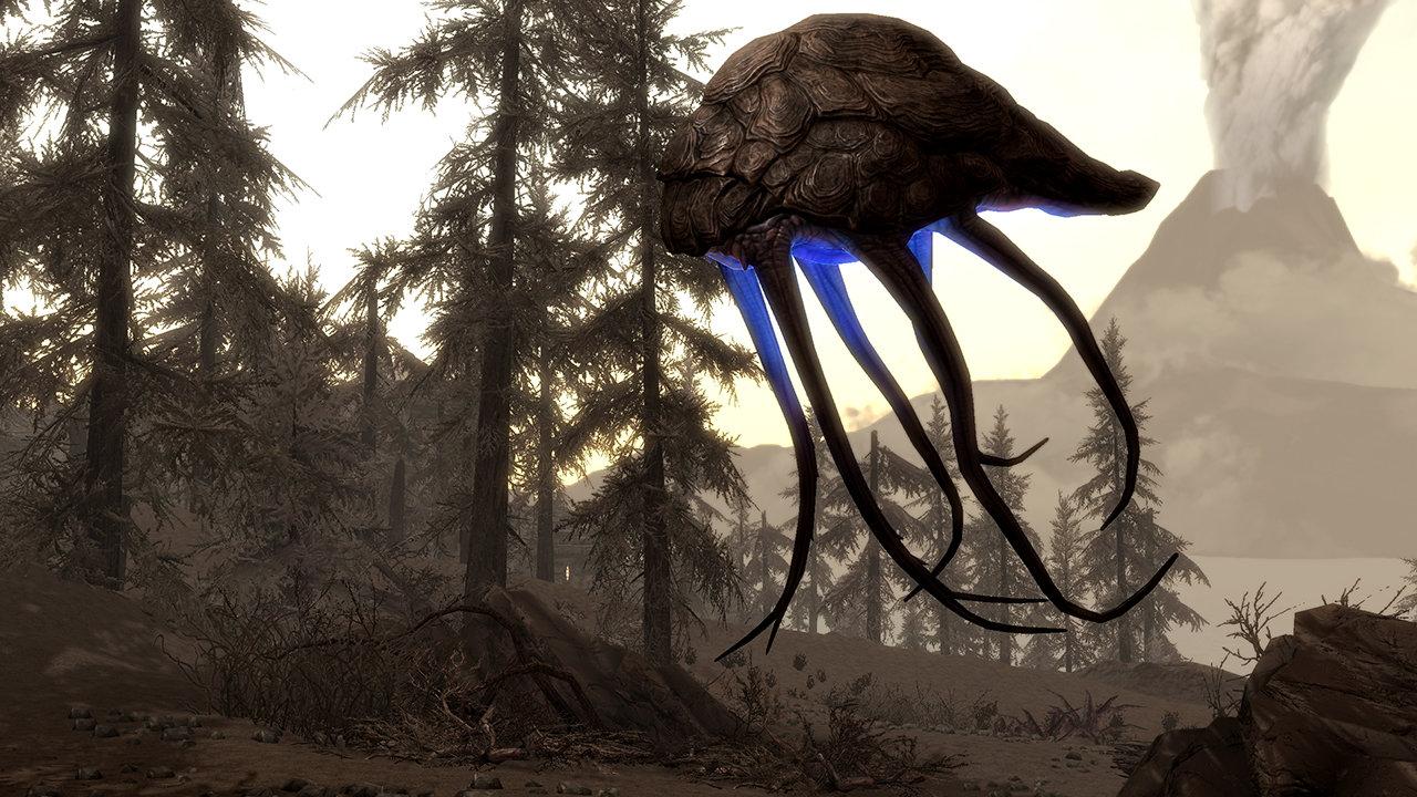 A silt strider roams the land in The Elder Scrolls V: Skyrim.