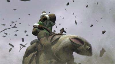 A screenshot of a character on a dragon in The Legend of Dragoon.