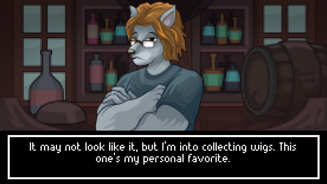 A wolf man in a gray shirt and flowing red hair stands in front of a bottle-lined shelf in a shop, talking about how he collects wigs. The red one is his favorite.